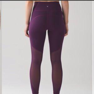 Lululemon purple HR mesh long leggings 8